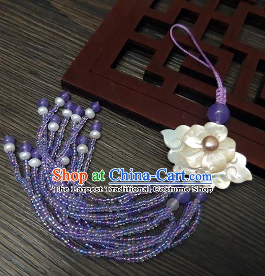 Traditional Chinese Ancient Palace Shell Flower Brooch Handmade Hanfu Breastpin Tassel Pendant for Women