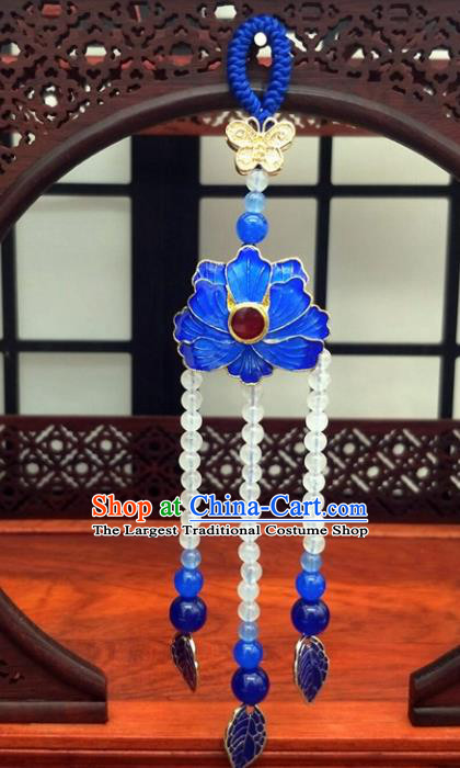 Traditional Chinese Ancient Palace Cloisonne Lotus Brooch Handmade Hanfu Tassel Breastpin Pendant for Women
