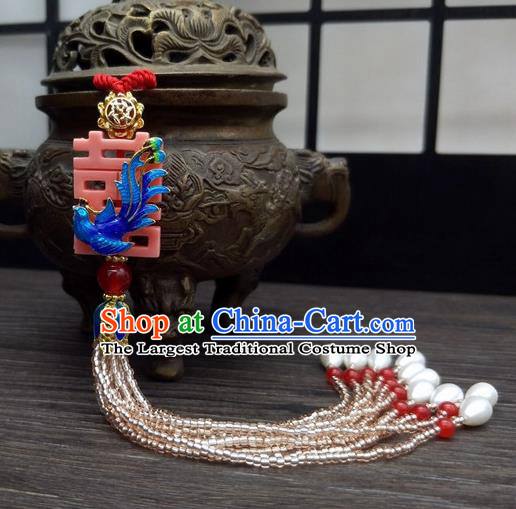 Traditional Chinese Ancient Palace Cloisonne Phoenix Brooch Handmade Hanfu Tassel Breastpin Pendant for Women