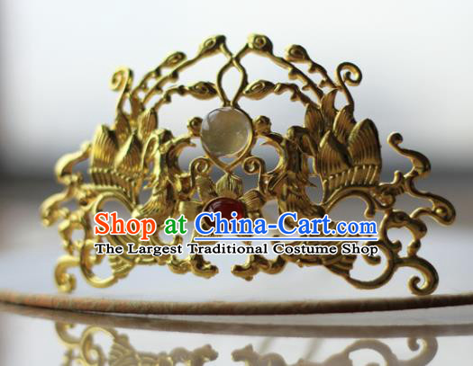 Traditional Chinese Ancient Queen Hanfu Phoenix Hair Crown Golden Hairpins Handmade Wedding Hair Accessories for Women