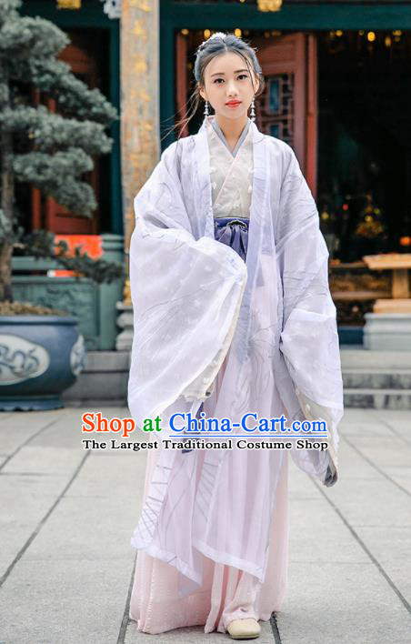Chinese Jin Dynasty Palace Princess Historical Costume Traditional Ancient Peri Embroidered Hanfu Dress for Women