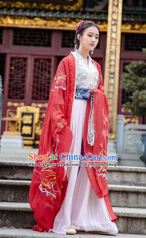 Chinese Jin Dynasty Imperial Consort Wedding Historical Costume Traditional Ancient Peri Embroidered Hanfu Dress for Women