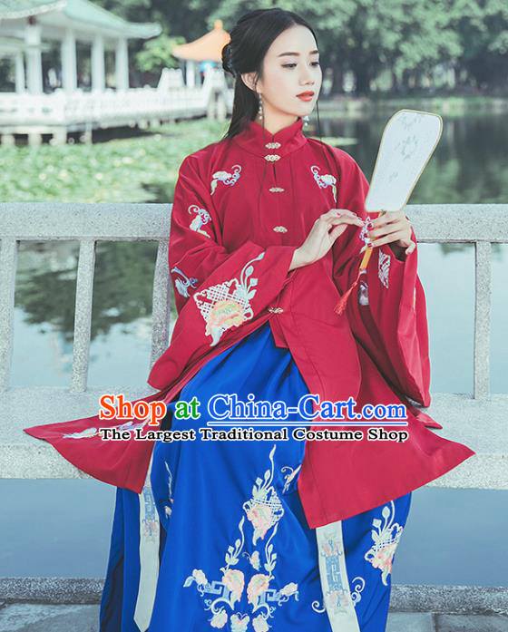 Chinese Ming Dynasty Court Princess Historical Costume Traditional Ancient Wedding Embroidered Hanfu Dress for Women