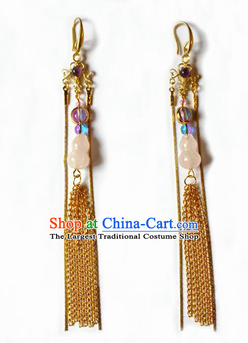 Handmade Chinese Ancient Princess Calabash Earrings Traditional Hanfu Jewelry Accessories for Women