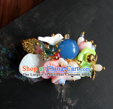 Traditional Chinese Ancient Palace Flowers Brooch Handmade Hanfu Breastpin for Women
