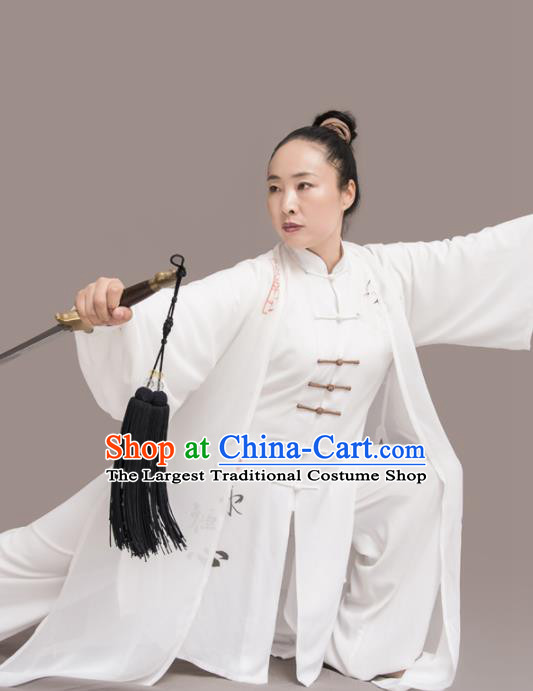 Traditional Chinese Martial Arts White Silk Costume Professional Tai Chi Competition Kung Fu Uniform for Women