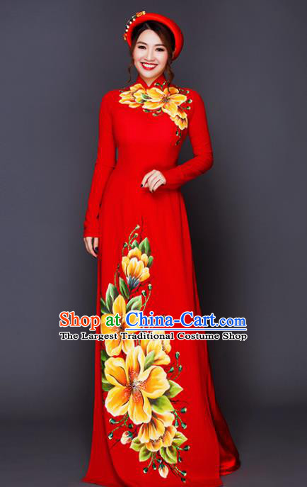 Vietnam Traditional National Costume Court Printing Flowers Red Ao Dai Dress Asian Vietnamese Cheongsam for Women