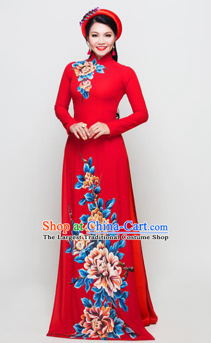 Vietnam Traditional National Costume Court Printing Peony Red Ao Dai Dress Asian Vietnamese Cheongsam for Women