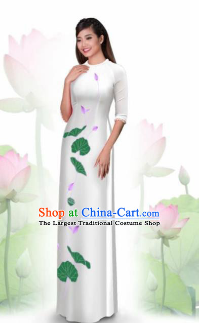 Vietnam Traditional National Costume Printing Lotus White Ao Dai Dress Asian Vietnamese Cheongsam for Women