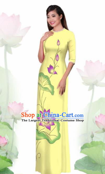 Vietnam Traditional National Costume Printing Lotus Yellow Ao Dai Dress Asian Vietnamese Cheongsam for Women