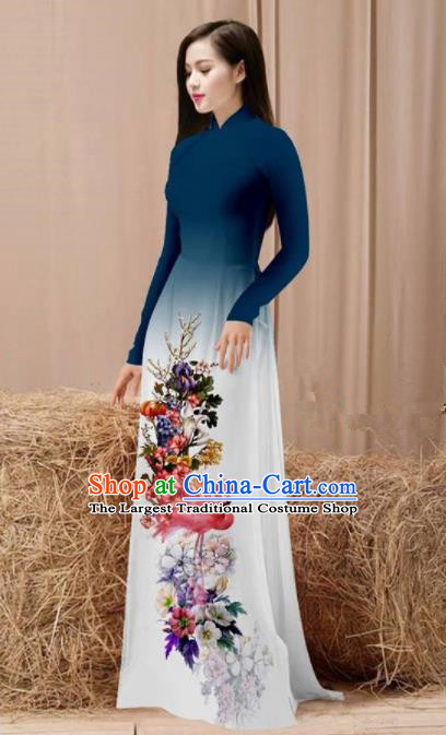 Vietnam Traditional National Costume Printing Flamingo Flowers Navy Ao Dai Dress Asian Vietnamese Cheongsam for Women