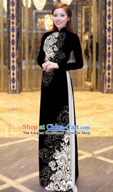Vietnam Traditional Court Costume Printing Black Ao Dai Dress Asian Vietnamese Cheongsam for Women