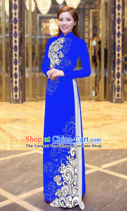 Vietnam Traditional Court Costume Printing Royalblue Ao Dai Dress Asian Vietnamese Cheongsam for Women