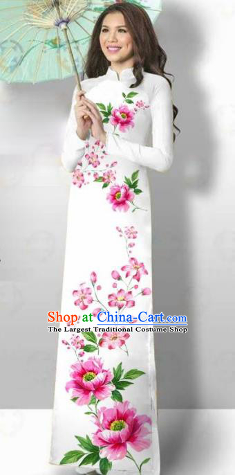 Vietnam Traditional Court Costume Printing Pink Flowers Ao Dai Dress Asian Vietnamese Cheongsam for Women