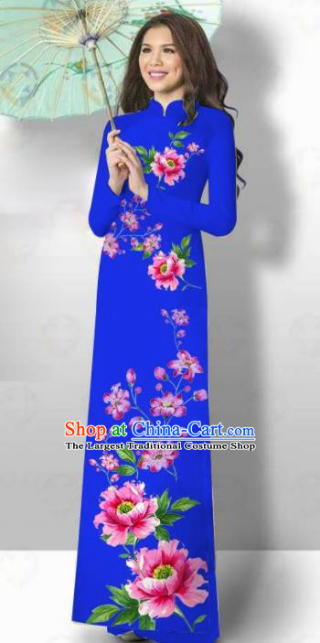Vietnam Traditional Court Costume Printing Flowers Royalblue Ao Dai Dress Asian Vietnamese Cheongsam for Women