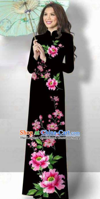Vietnam Traditional Court Costume Printing Flowers Black Ao Dai Dress Asian Vietnamese Cheongsam for Women