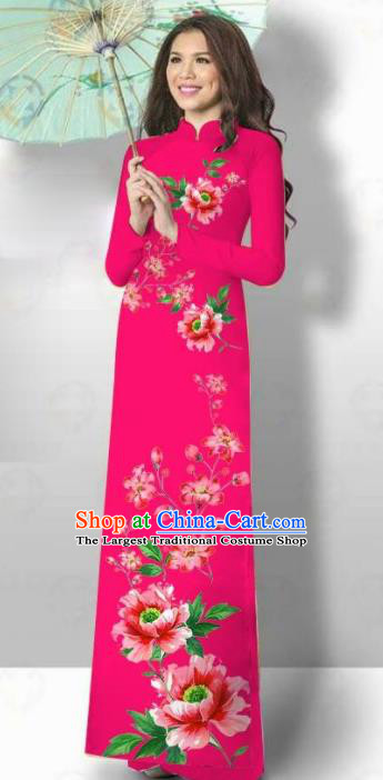 Vietnam Traditional Court Costume Printing Flowers Rosy Ao Dai Dress Asian Vietnamese Cheongsam for Women