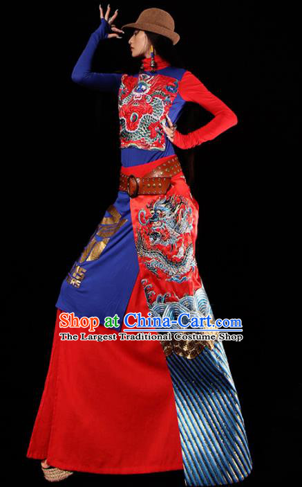 Chinese Traditional National Costume Embroidered Dragon Brocade Skirt Tang Suit Dress for Women