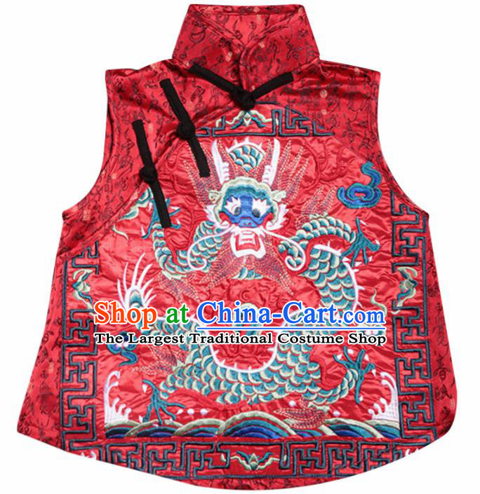 Chinese Traditional National Costume Red Brocade Vest Tang Suit Embroidered Waistcoat for Women