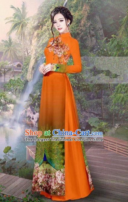 Vietnam Traditional Court Costume Printing Peacock Orange Ao Dai Dress Asian Vietnamese Cheongsam for Women