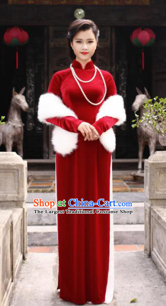 Vietnam Traditional Court Costume Red Velvet Ao Dai Dress Asian Vietnamese Cheongsam for Women