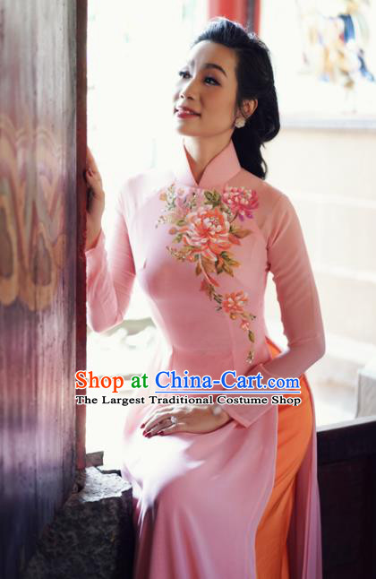 Vietnam Traditional Court Costume Printing Peony Pink Ao Dai Dress Asian Vietnamese Cheongsam for Women