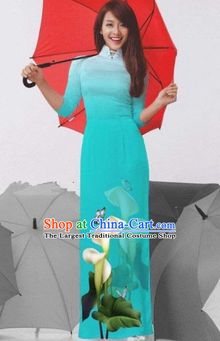 Vietnam Traditional National Costume Printing Common Callalily Green Ao Dai Dress Asian Vietnamese Cheongsam for Women