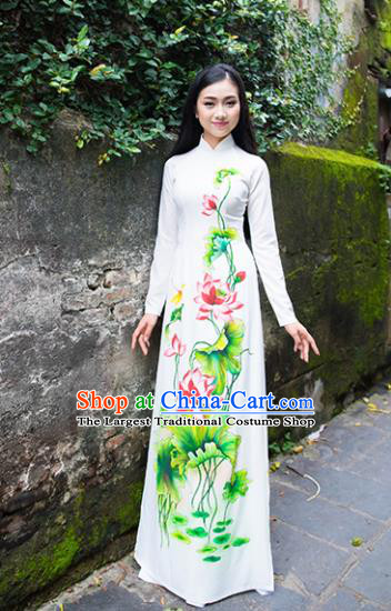 Vietnam Traditional National Costume Court Printing Lotus Ao Dai Dress Asian Vietnamese Cheongsam for Women