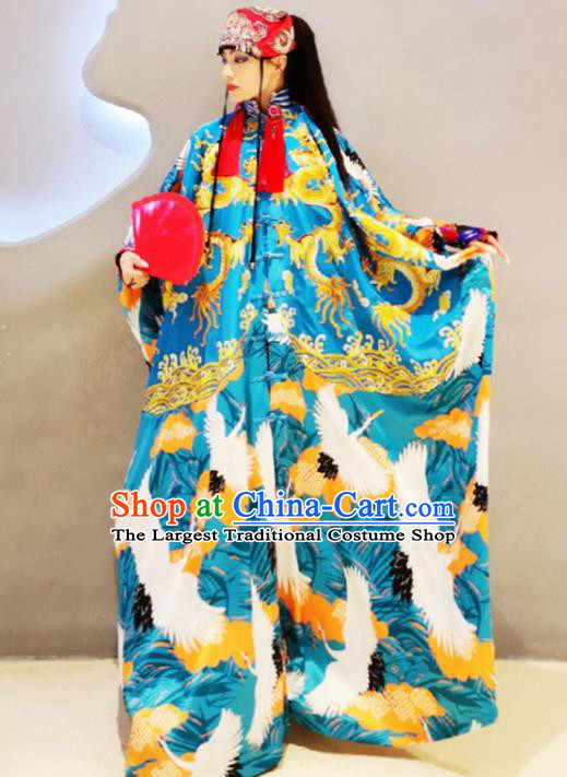 Chinese Traditional National Costume Embroidered Dragon Blue Robe Tang Suit Qipao Dress for Women