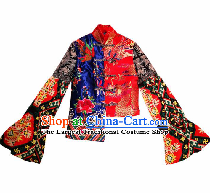 Chinese Traditional National Costume Embroidered Red Blouse Tang Suit Qipao Jacket for Women