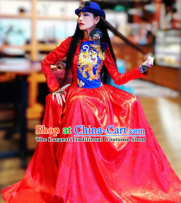 Chinese Traditional Catwalks Costume National Embroidered Dragon Red Cheongsam Tang Suit Qipao Dress for Women