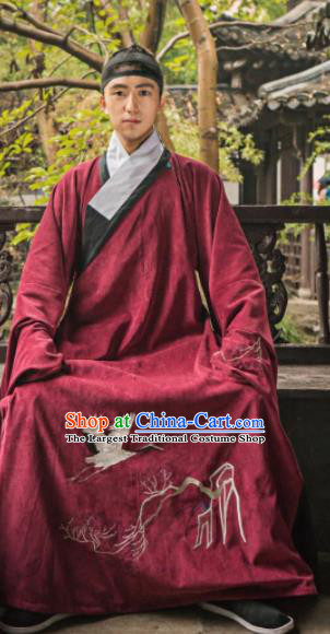 Chinese Traditional Ming Dynasty Historical Costume Ancient Taoist Priest Embroidered Red Robe for Men