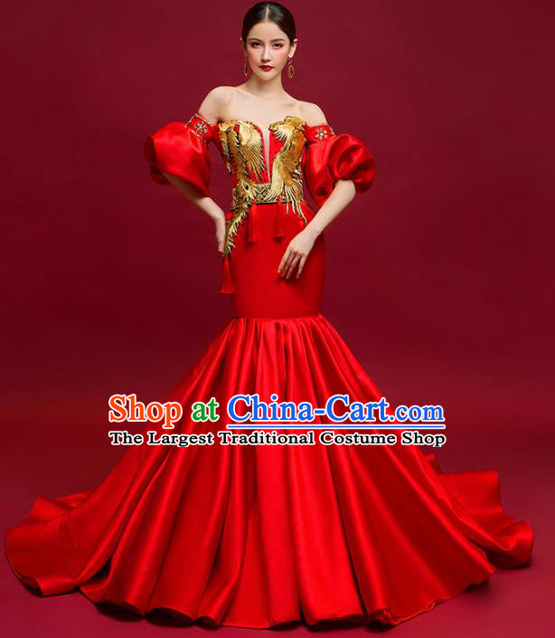Chinese National Catwalks Costume Red Trailing Cheongsam Traditional Tang Suit Qipao Dress for Women