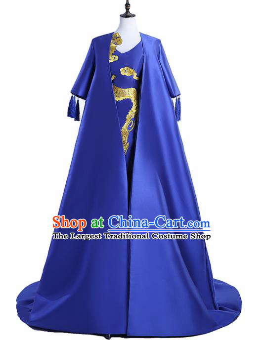 Chinese National Catwalks Costume Royalblue Trailing Cheongsam Traditional Tang Suit Qipao Dress for Women