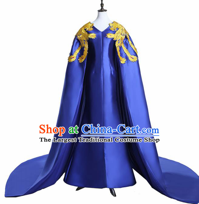 Chinese National Catwalks Costume Embroidered Phoenix Royalblue Trailing Cheongsam Traditional Tang Suit Qipao Dress for Women