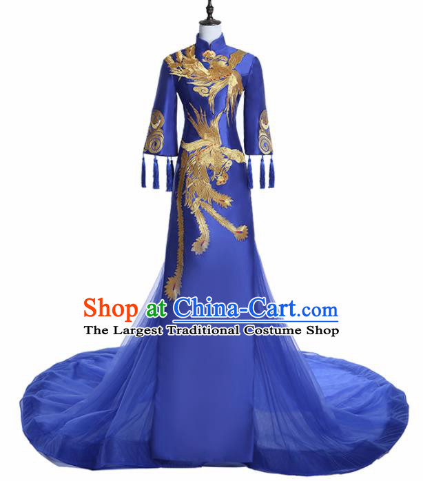 Chinese National Catwalks Costume Embroidered Phoenix Trailing Cheongsam Traditional Tang Suit Royalblue Qipao Dress for Women