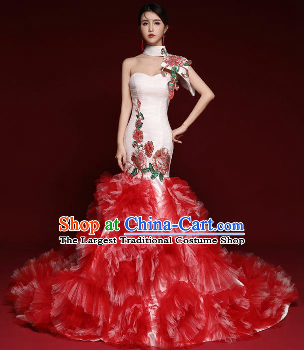 Chinese National Catwalks Red Veil Peony Trailing Cheongsam Traditional Costume Tang Suit Qipao Dress for Women