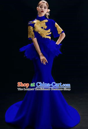 Chinese National Catwalks Embroidered Phoenix Royalblue Trailing Cheongsam Traditional Costume Tang Suit Qipao Dress for Women