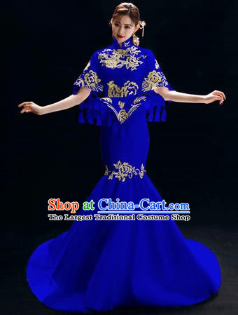Chinese National Catwalks Embroidered Royalblue Trailing Cheongsam Traditional Costume Tang Suit Qipao Dress for Women