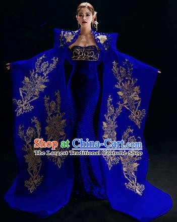 Chinese National Catwalks Embroidered Cheongsam Traditional Costume Tang Suit Royalblue Qipao Dress for Women