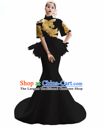 Chinese National Catwalks Embroidered Black Mermaid Cheongsam Traditional Costume Tang Suit Qipao Dress for Women
