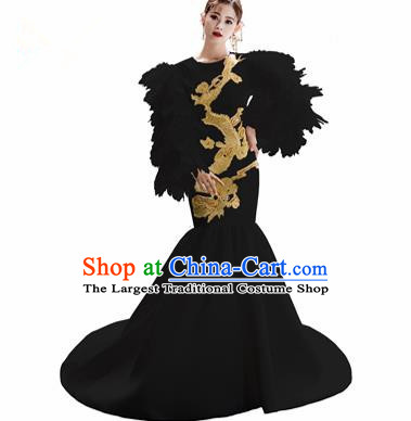 Chinese National Catwalks Embroidered Dragon Black Trailing Cheongsam Traditional Costume Tang Suit Qipao Dress for Women