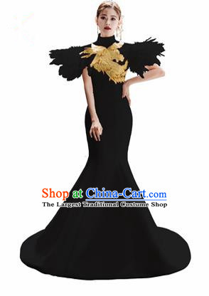 Chinese National Catwalks Embroidered Phoenix Black Trailing Cheongsam Traditional Costume Tang Suit Qipao Dress for Women