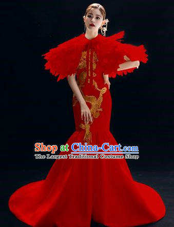 Chinese National Catwalks Embroidered Red Cheongsam Traditional Costume Tang Suit Trailing Qipao Dress for Women