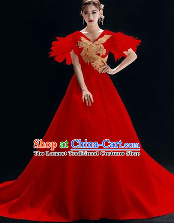 Top Grade Catwalks Red Trailing Full Dress Modern Dance Party Compere Embroidered Costume for Women