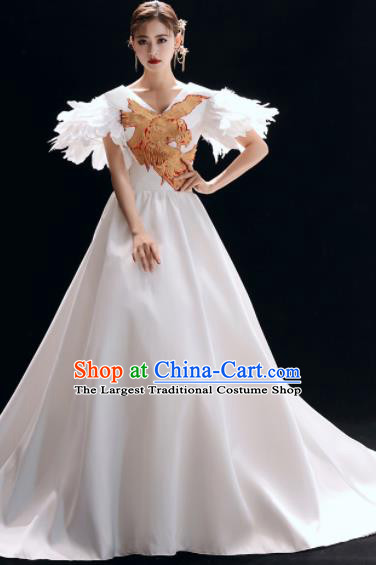 Top Grade Catwalks White Trailing Full Dress Modern Dance Party Compere Costume for Women