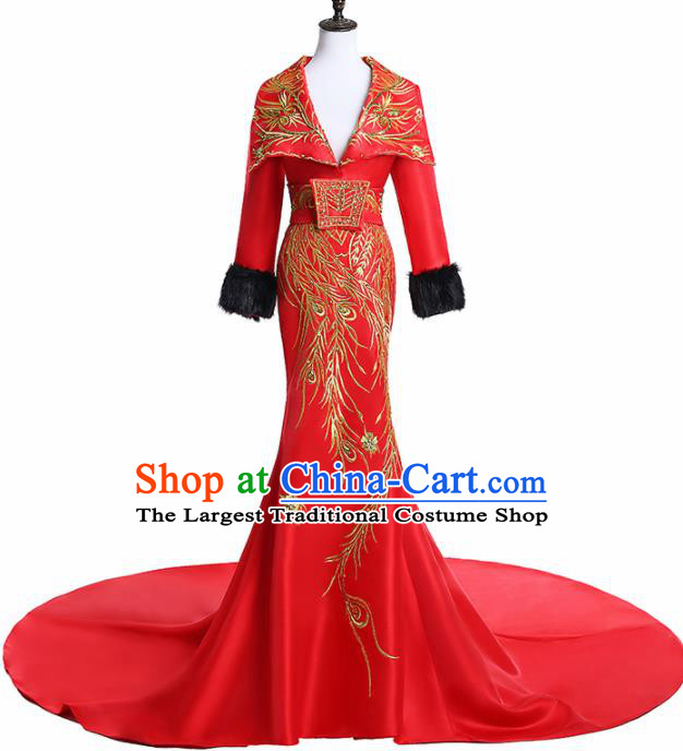Chinese National Catwalks Costume Embroidered Phoenix Red Trailing Cheongsam Traditional Tang Suit Qipao Dress for Women