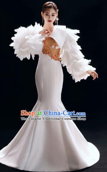 Top Grade Catwalks Embroidered White Feather Trailing Full Dress Modern Dance Party Compere Costume for Women
