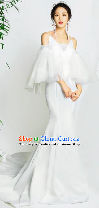 Top Grade Catwalks Compere White Trailing Full Dress Modern Dance Party Costume for Women