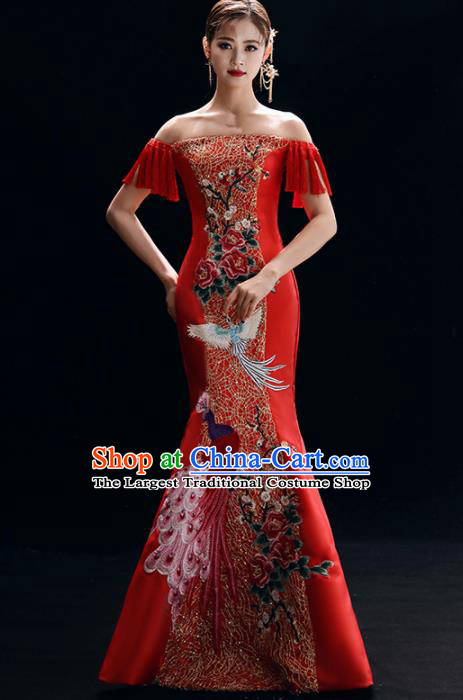 Chinese National Catwalks Embroidered Red Cheongsam Traditional Costume Tang Suit Qipao Dress for Women